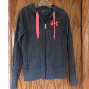 Under Armour Semi-Fitted Grey/Coral Zip Up Hoodie